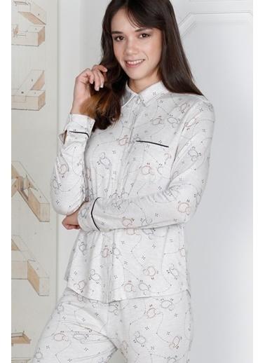 Hays Kadın Kuzu Baskılı Viscon Pijama Takımı Siyah